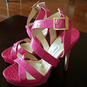 Jimmy Choo Hot Pink Strappy Heels